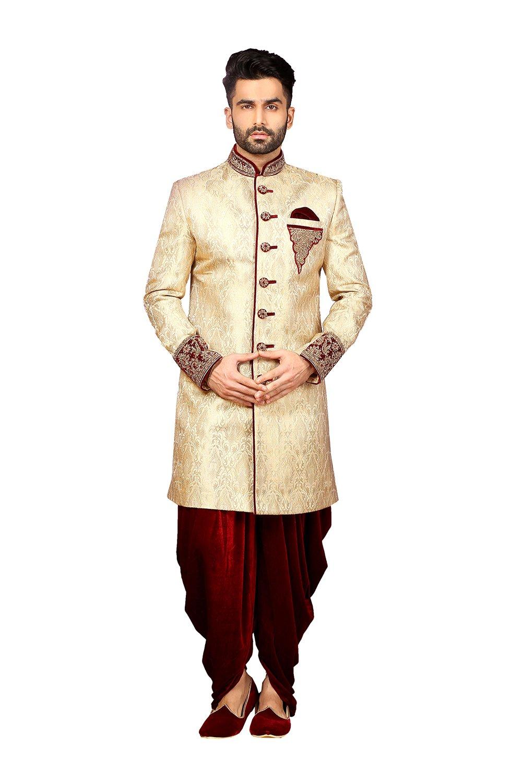 PinkCityCreations PCC Mens Indo Western Wedding Fawn Designer Partywear Traditional R-25427