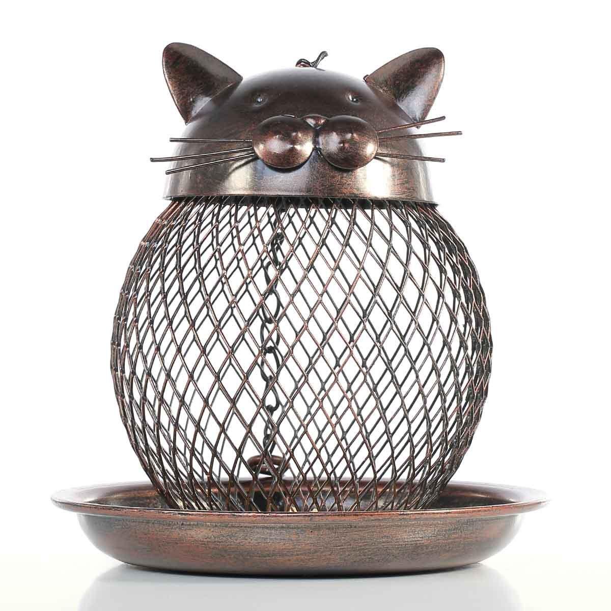 Wild Bird Feeder, Premium Metal Squirrel Proof Bird Feeder Cat Shape Art with Hanging Chain Decor for Outdoor Indoor (Bronze)