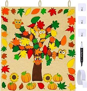 Fall Tree of Thanks Craft Kit Bulletin Board Set Felt Tree Board with 81 PCS Detachable Autumn Leaves Pumpkin Owl Sunflower Ornaments for Kids Teacher Classroom Decor Thanksgiving Holiday Activity