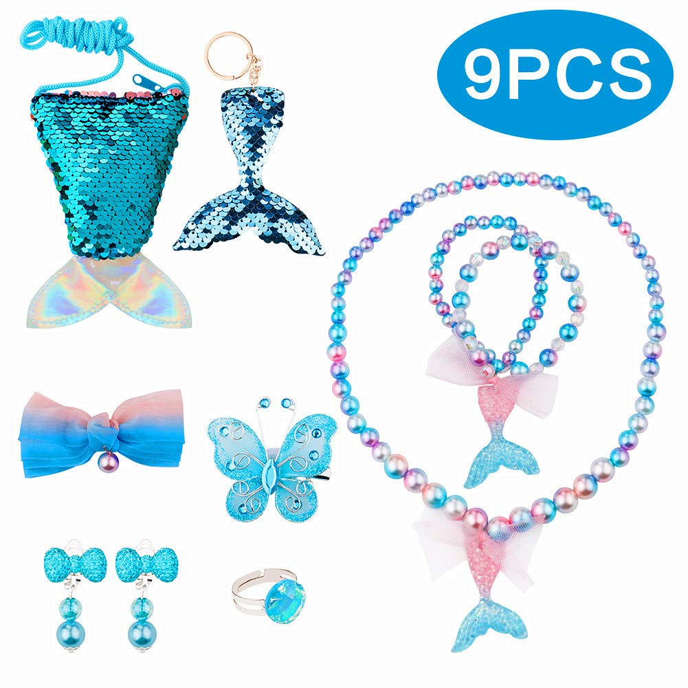 BAOQISHAN 9PCS Mermaid Fishtail Deluxe Girls Party Princess for Necklace and Bracelet Set for Girls Little Kids Include Coin Purse Keychain Necklace Bracelet Hair Clip Earrings Ring Set (Blue) by BAOQISHAN