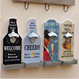 Windspeed Vintage Wall Mount Beer Bottle Opener With Small Organizer Box,Beer Bottle Shape,Rustic Bar Shop Bottle Opener (Grey)
