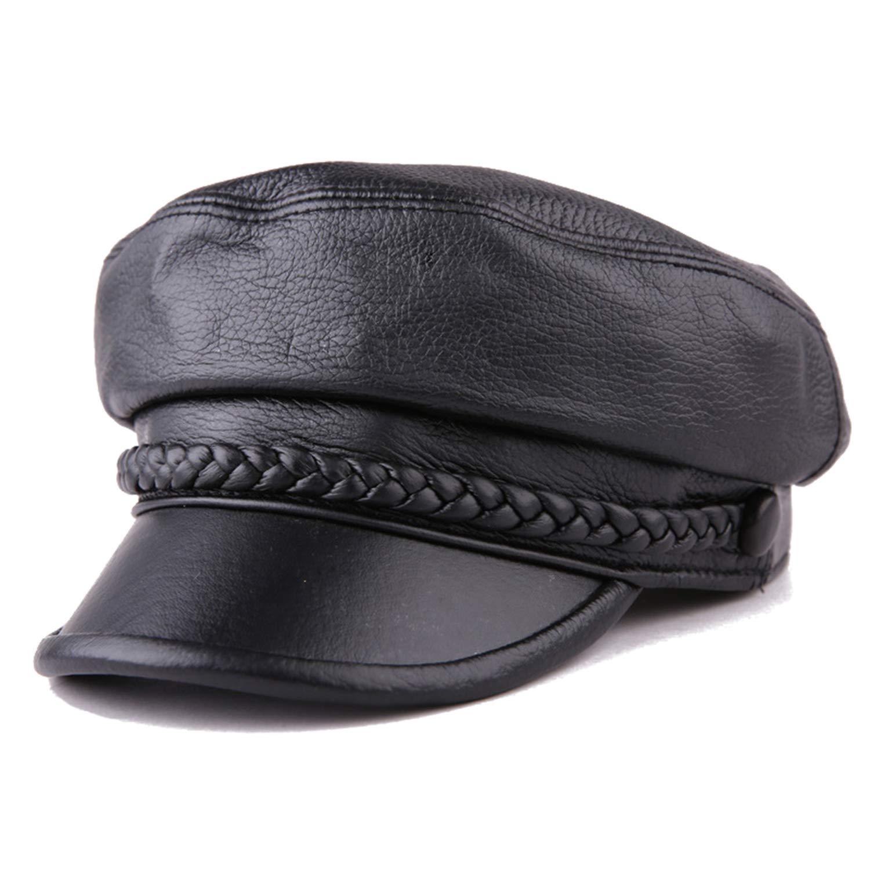 Women Newsboy Hats Leather Flat Caps Ladies Sheepskin Winter Classic Painter Sailor,Black caps,L (55-56 cm) by MEIZOKEN
