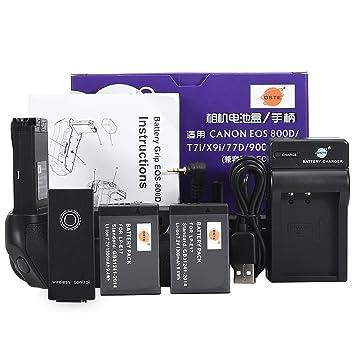 c418c395ec1 DSTE EOS-800D - Empuñadura de Batería con Mando a Distancia por Infrarrojos  (2 Baterías LP-E17 y Cargador USB para Canon EOS 800D T7i X9i 77D 9000D):  ...