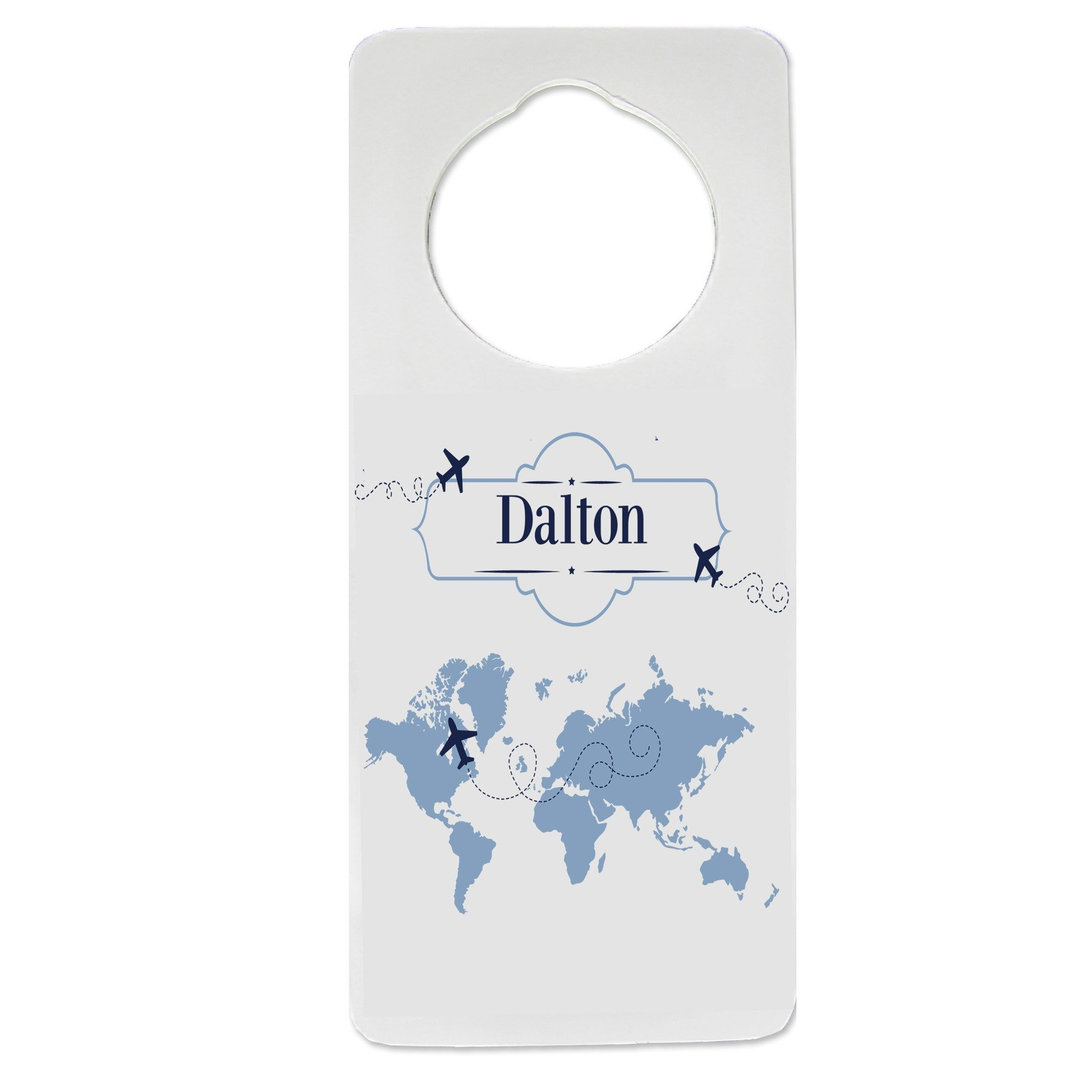 Personalized World Map blue Nursery Door Hanger