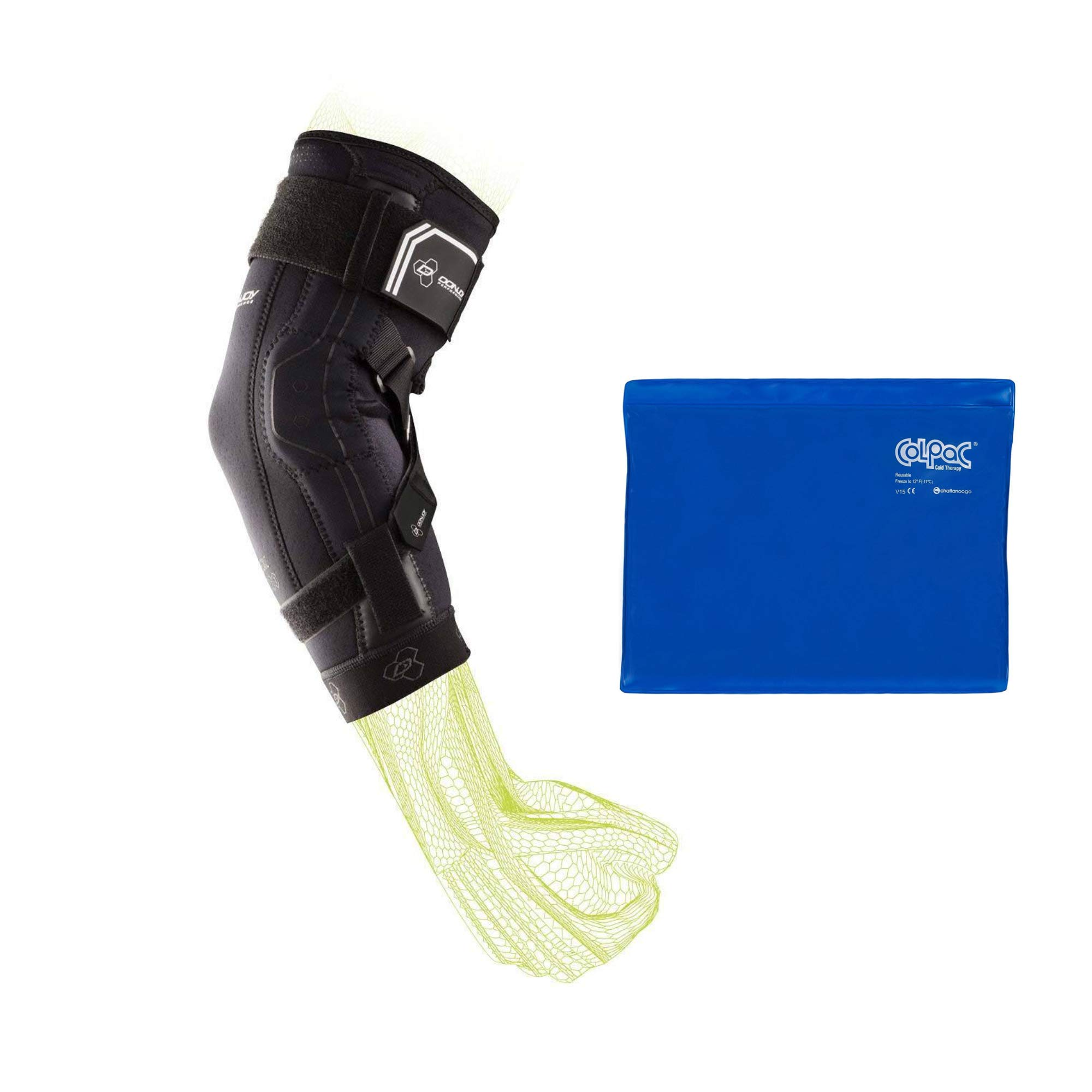 DonJoy Performance Bionic II Elbow Support Brace (X-Large) and Chattanooga ColPac Reusable Gel Ice Pack Cold Therapy - Blue Vinyl - Standard - (11 in x 14 in) - Value Bundle