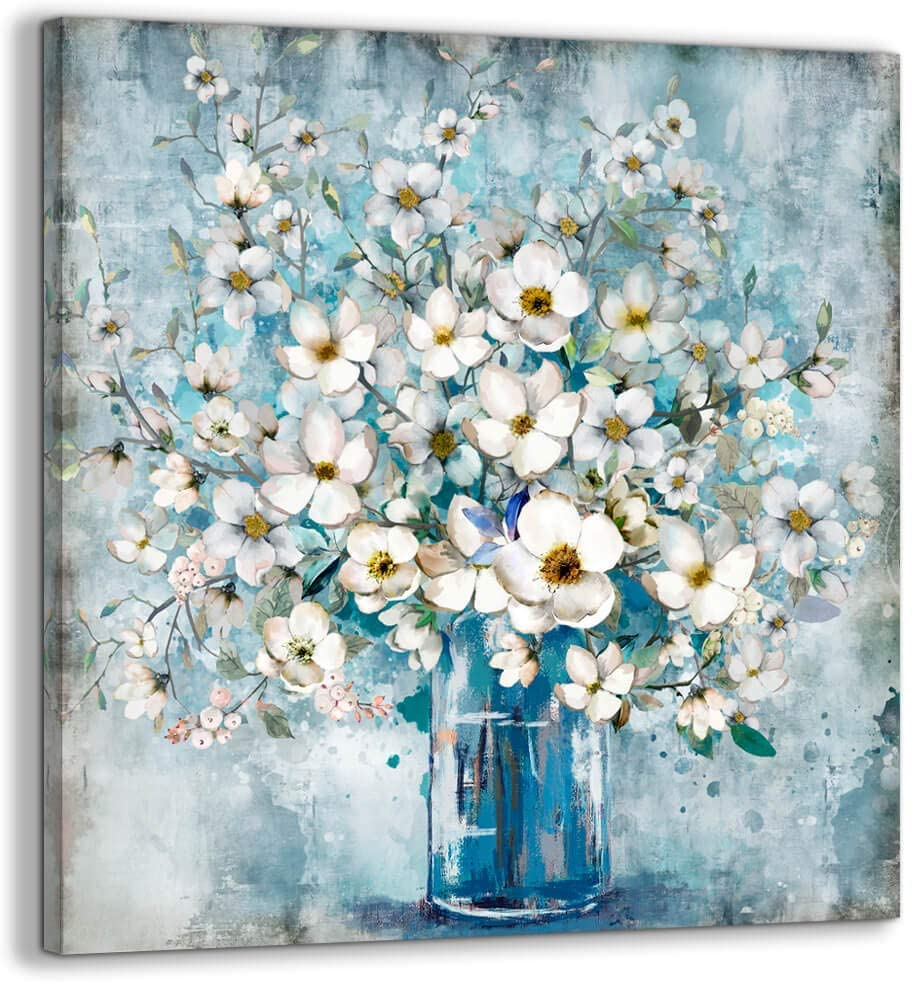 Bathroom Decor Canvas Wall Art Framed Wall Decoration Modern Gallery Wall Decor Print White Flower in Blue Bottle Theme Picture Artwork for Walls Ready to Hang for Kitchen Bedroom Decor Size 20x20