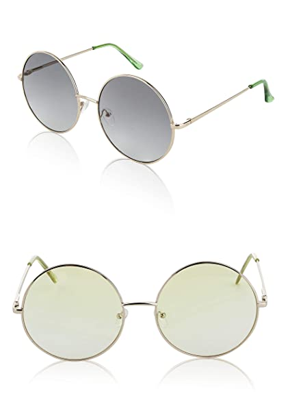 6f809452014 Huge Sunglasses Circle Big Hippis Hippy Glasses Women Two 2 Pack Grey Yellow