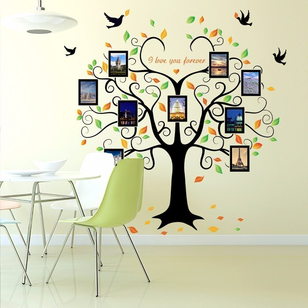 Family Tree Wall Decal - 9 Large Photo Picture Frames - Peel and Stick Wall Decal - Best Removable Wall Decal for Living Room, Bedroom, Kids Rooms, Mural Decor - 80'' Wide x 63'' Tall by GoGoDecal (Image #4)