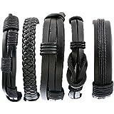 MJARTORIA Bangle Rope Black PU Leather Unisex Adjustable Hemp Cords Multi Strands Adjustable Wrap Bracelets 5PCS Women Men Bracelet Set