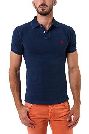 Ralph Lauren Mens River Blue Heather Short-Sleeved Polo Shirt Slim ...