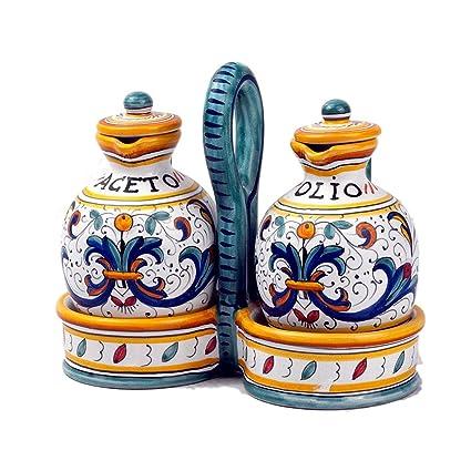 MICHELANGELO Cerámica, pintada a mano, Italia, arte y artesanía - Set. Botella