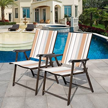 Merveilleux Sundale Outdoor Beach Yard Pool Sling Back Chairs Patio Recliner Garden  Folding Chairs Space Saving Chairs