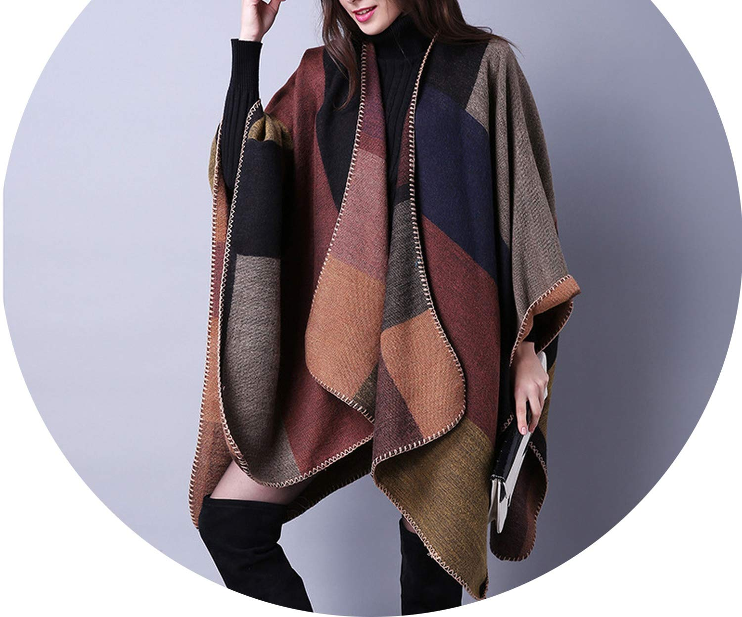 1 2018 Women Winter Scarf Warmer Shawl Ladies Vintage Plaid Blanket Knit Wrap Cashmere Poncho Capes,01