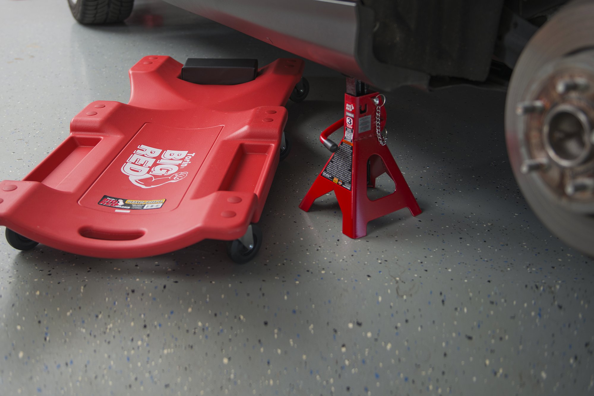 Torin Big Red Rolling Garage/Shop Creeper: 40'' Plastic Mechanic Cart with Padded Headrest, Red by Torin (Image #5)