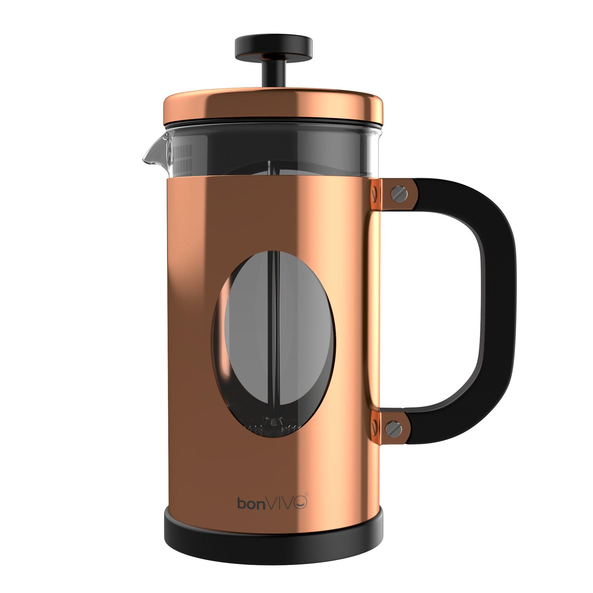 bonVIVO GAZETARO I Copper French Press Coffee Maker, Coffee Press Made Of Stainless Steel And Heat Resistant Borosilicate Glass, Design French Press Machine In Copper Finish, With Bonus Filter, 34 Oz