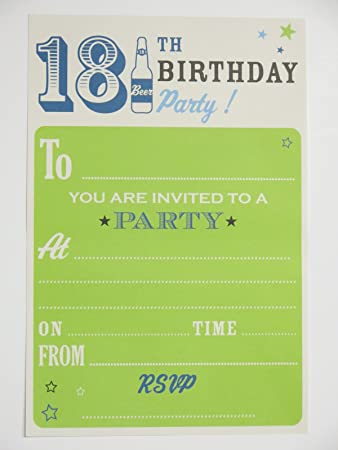 18th birthday party invitations - male green boy beer bottle design - pack of 20 invites