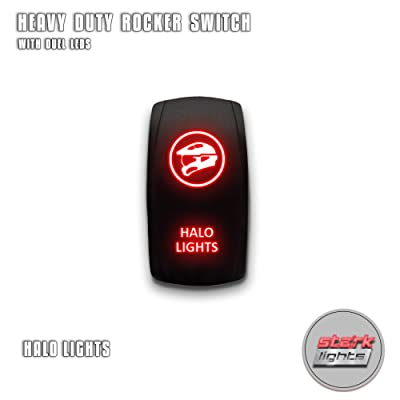 HALO LIGHTS - Red - STARK 5-PIN Laser Etched LED Rocker Switch Dual Light - 20A 12V ON/OFF: Automotive