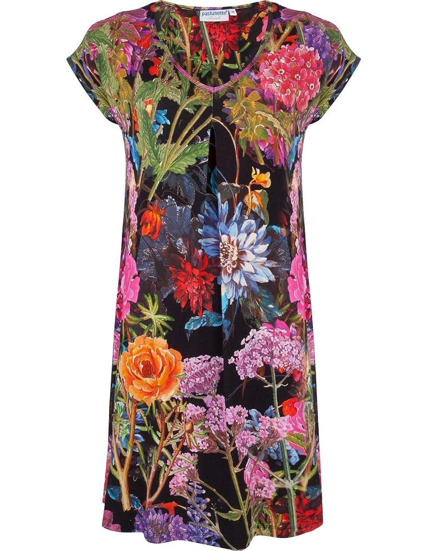 Pastunette 1071-394-2-999 Women's Black and Multicoloured Floral Print Viscose Kaftan