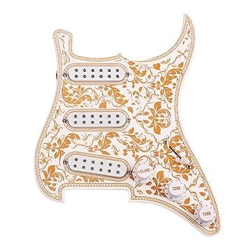 rosenice Strat guitarra eléctrica golpeador guitarra diseño floral ...