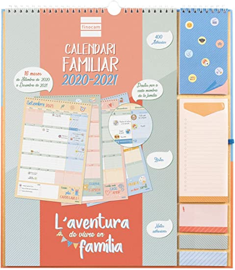 Oferta amazon: Finocam - Calendario de Pared Familiar 16 Meses 2020-2021 340x380 Mes Vista Aventura Catalán