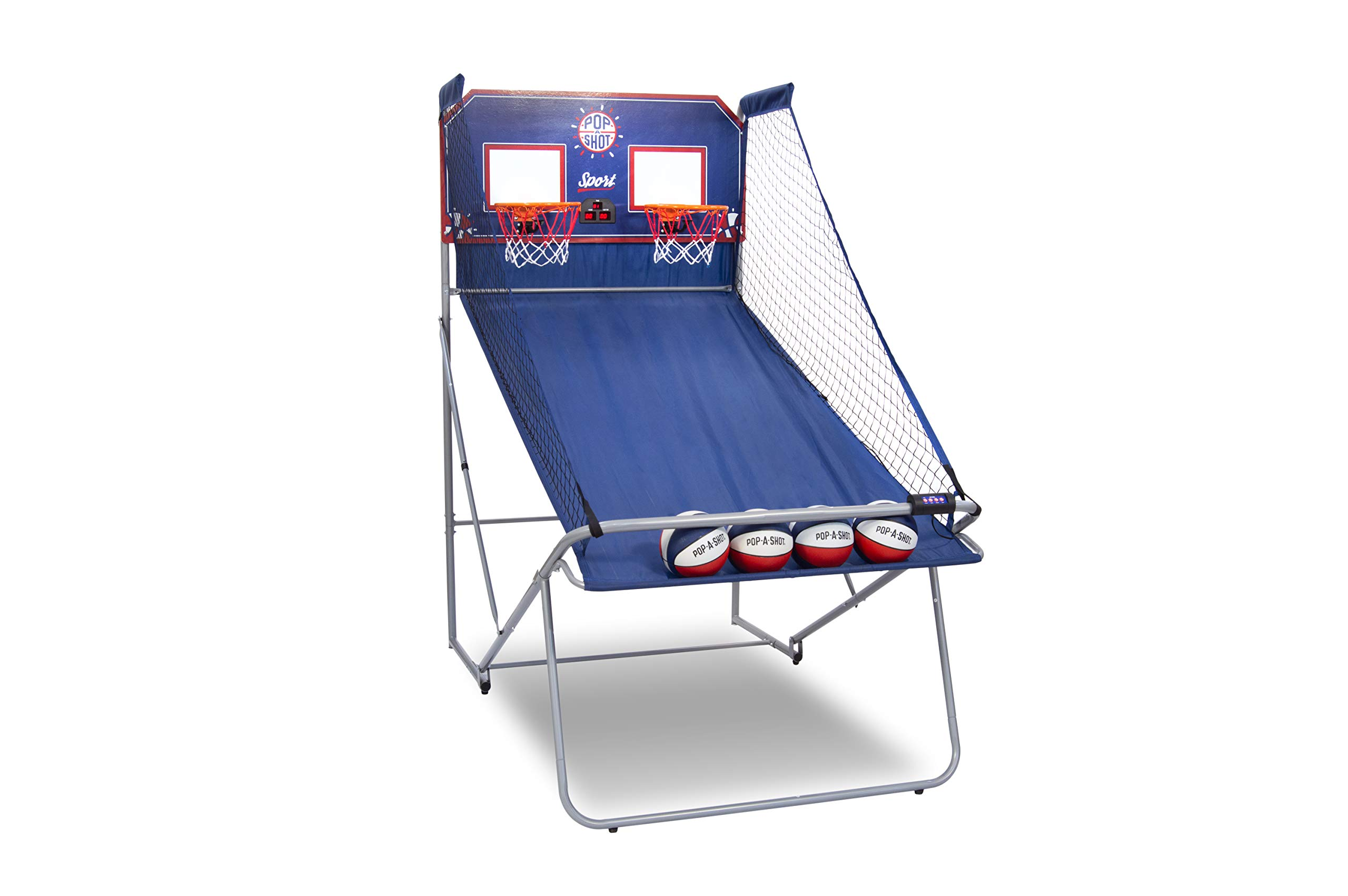 Pop-A-Shot Official Dual Shot Sport Basketball Arcade Game - 10 Games - 6 Audio Options - Durable Construction - Easy Fold Up by Pop-A-Shot