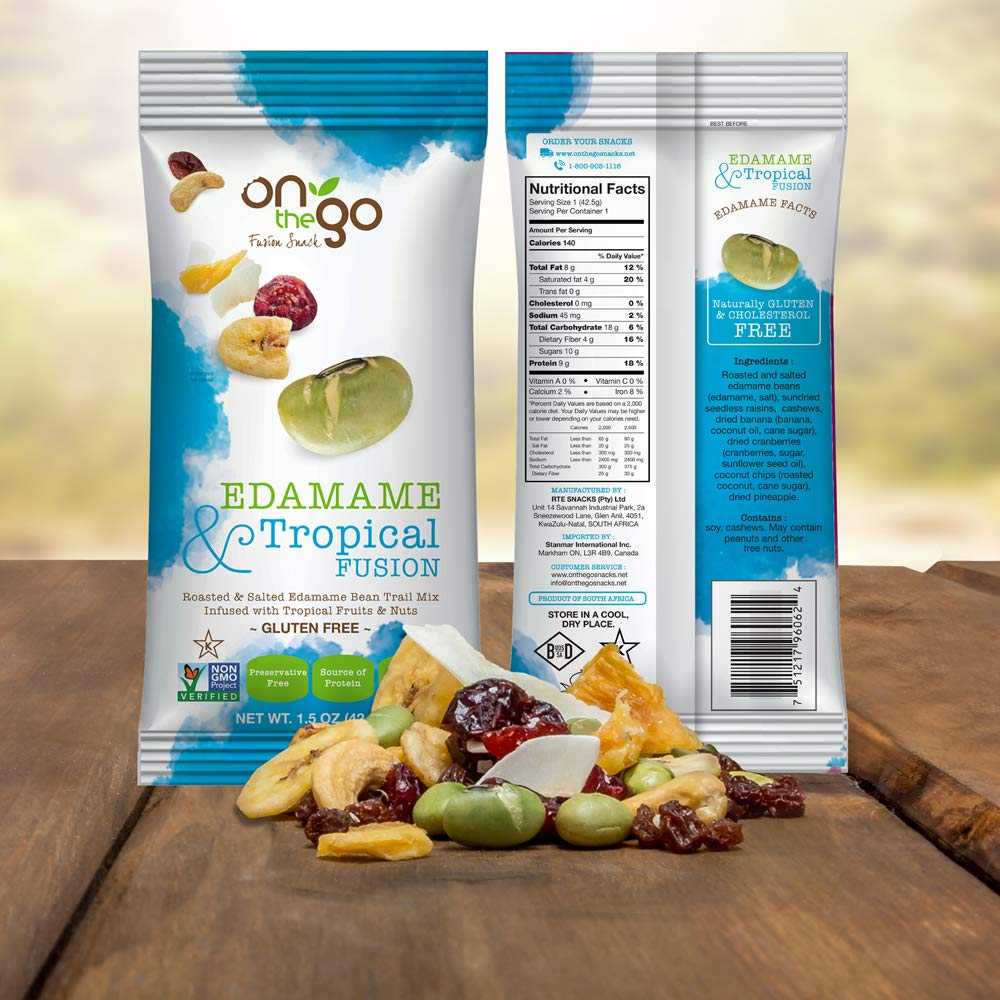 On The Go Roasted & Salted Edamame Bean Trail Mix blended with Tropical Fruits and nuts, 1.5 OZ (Pack - 36) by On The GoFusion Snack (Image #2)