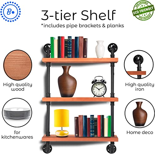 BDOT Industrial Pipe Shelves with Wood 3-Tier Industrial Pipe Excellent Organizer Premium Quality Multiple Shelves Heavy Duty Clutter Buster Unique Wood kitchen Shelf Bathroom Shelf