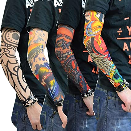 b8afa8bf0 Aadishwar Creations Temporary Realistic Fake Slip On Tattoo Arm Cuff Sleeves  Covers Stockings (Any Design 4 Pair): Amazon.in: Car & Motorbike
