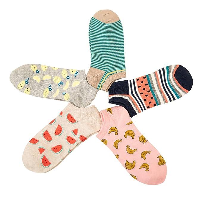ishine (5 packs) calcetines mujer divertidos calcetines ciclismo con 7 colores: Amazon.es: Ropa y accesorios