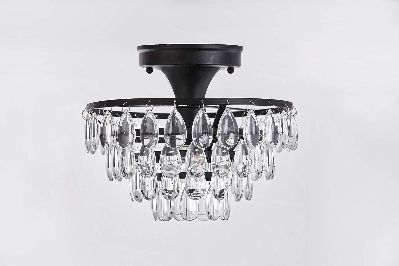 Antique Black Flush Mount Light Fixture Ceiling Crystal D9 9 For Living Room Bedroom Kitchen Com