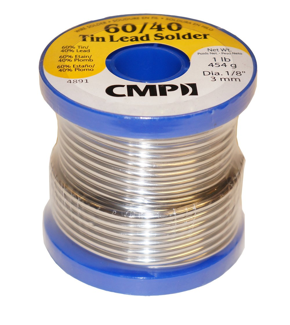 CMP Solder WSP604012501 60/40 Tin/Lead Premium Solder for Stained Glass, 1 Pound Spool, 1/8'' Diameter