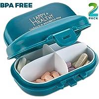 Organizador diario de pastillas – (Paquete de 2) organizador de pastillas pequeñas AM PM – bonito organizador de pastillas de 4 compartimentos 2 veces al día caja
