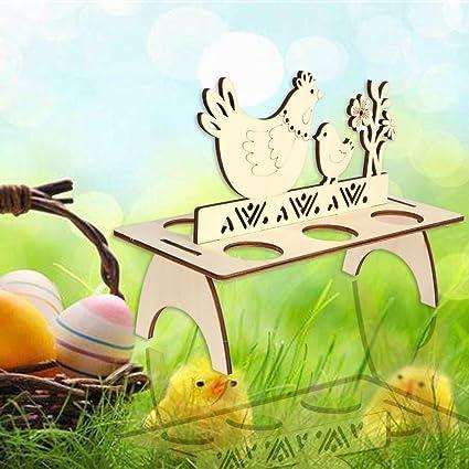 Easter Egg Rack Wooden Stand Holder Hen Banny Happy Easter Home Festival Decor