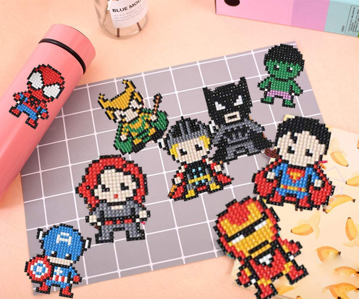 10Pieces CCY Diamond Painting Stickers Kits for Kids,5D Hero Diamond Art Mosaic Stickers by Numbers Kits