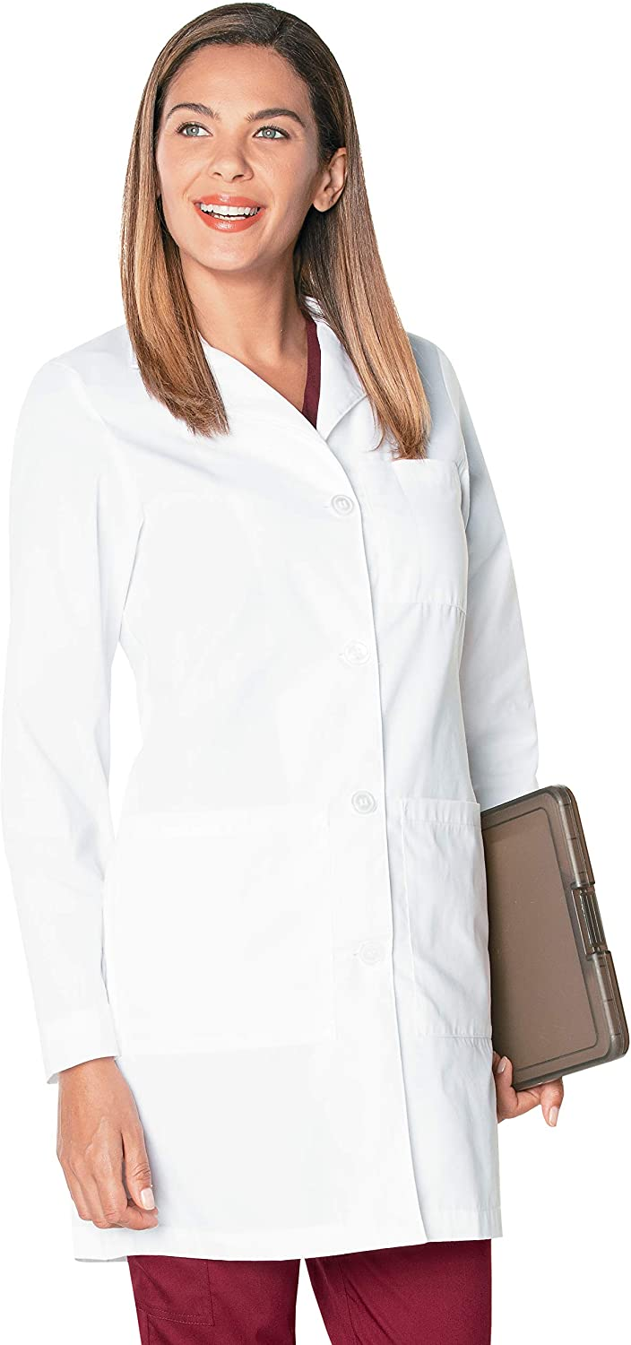 Landau Women's 3-Pocket, Classic Relaxed Fit Notch Collar Medical Lab Coat 3155: Clothing