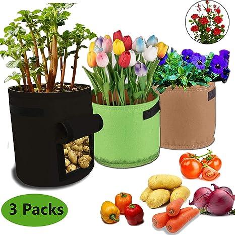 Lhasam Bolsas de Cultivo de Papa Bolsa de cultivo de flores vegetales 7 galones 5 galones con manija lateral Velcro Premium Tela de fieltro suave no ...