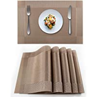 Heat-Resistant Crossweave Woven Dinning Table Set of 6 Placemat PVC Placemats-EXCO Kitchen Place Mats Washable PVC Table…