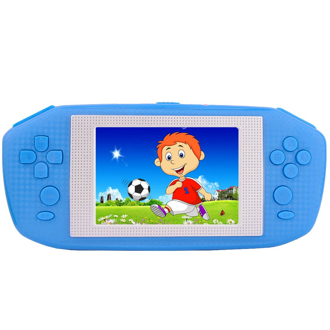 ZHISHAN Portable Handheld Game Console Gaming Player Birthday Gift for Kids Built in 416 Classic Retro Games with 3.5'' LCD Big Screen (Blue)