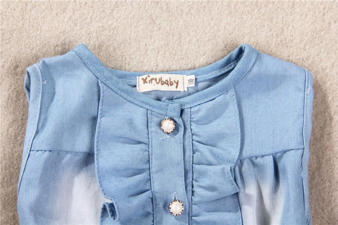 Vicbovo Little Girl Dress Floral Print Sleeveless Denim Dresses Summer Clothes for Kids Toddler Baby Girl