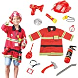 Wesprex Fireman Role Pretend Play Costume Dress-Up Set for Kids Children Boys and Girls with Complete Firefighter Accessories