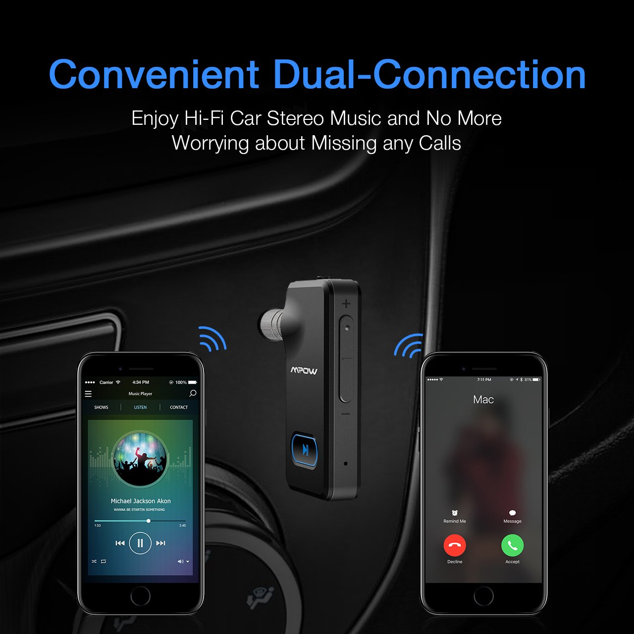 Mpow Aux Blueooth Adapter 3.5mm, Bluetooth Receiver w/Quick Charging 5-Min for 2 Hours Hands-free Calling, Wireless Bluetooth Car Adapter with One-Key On/Off Button, Bluetooth Car Kits for Hi-Fi Music by Mpow (Image #6)