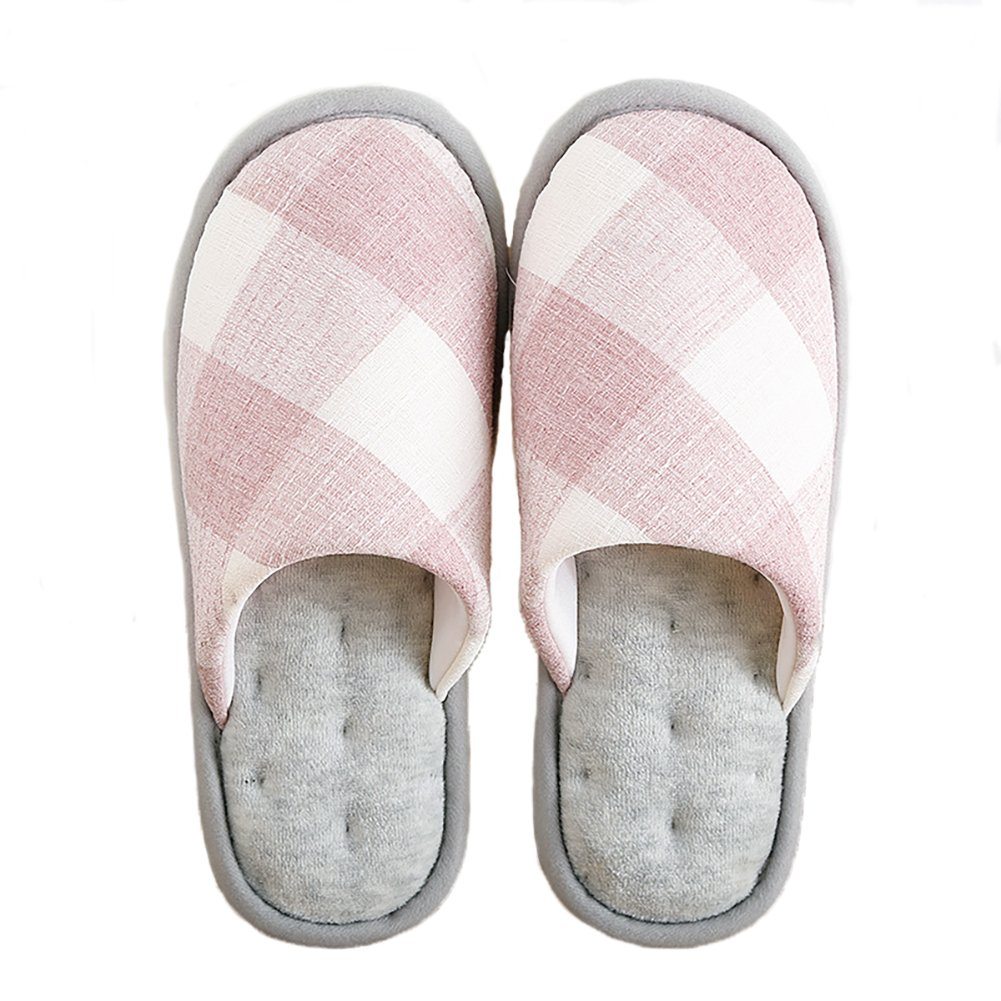 NECOOER Men Women Soft Indoor Home Slippers Autumn/Winter Grid Memory Foam Anti-Slip Cotton Home Shoes (S=6.5-7.5 US=37-38 EU, Pink)