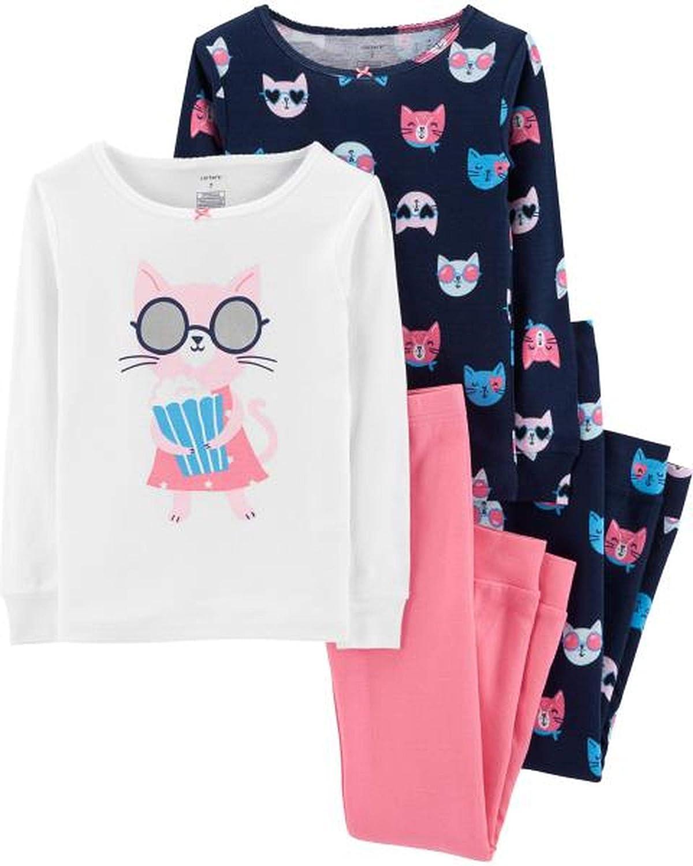 Carters Girls 4-12 4 Piece Cat Snug Fit Cotton Pajamas