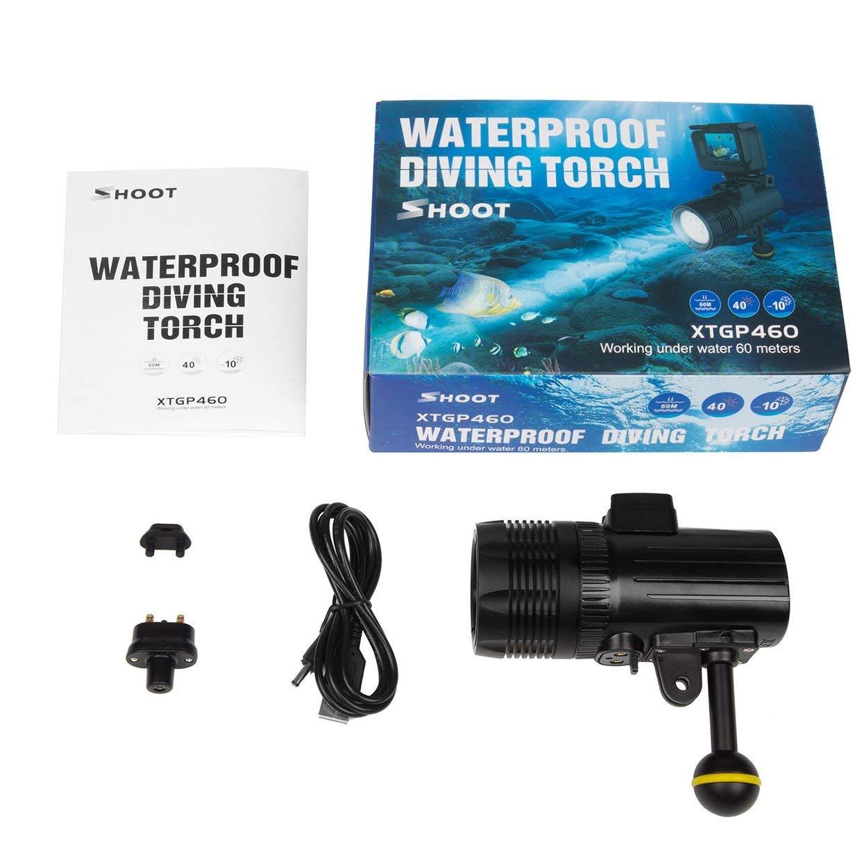 SHOOT Tauchen LED Taschenlampe Unterwasser 60m wasserdichte Fotografie Videolicht Taktische LED Taschenlampe 1500 Lumen LED Taktische Taschenlampe d81711