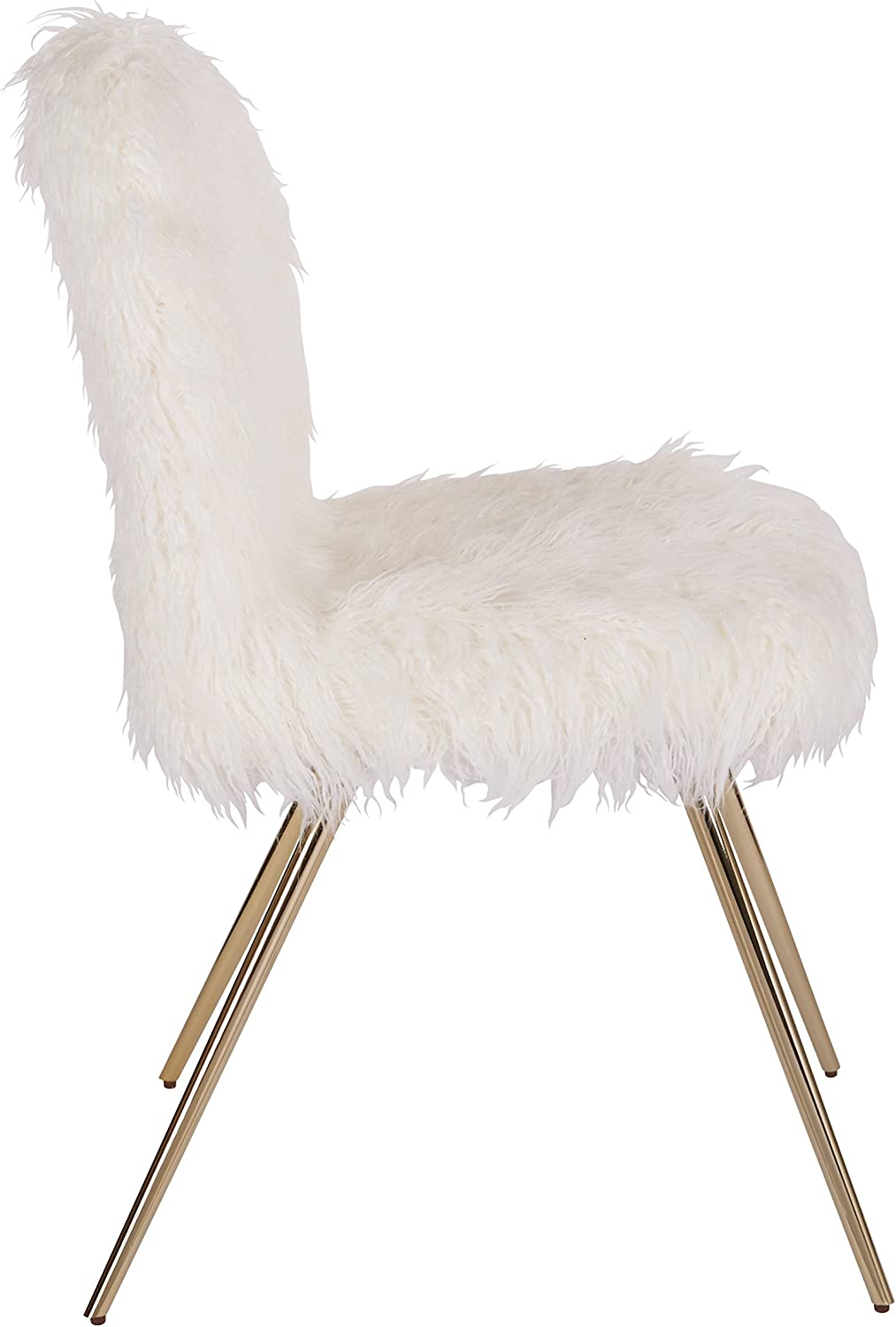 Ave Six Julia Accent Chair, White Faux Fur and Gold Legs