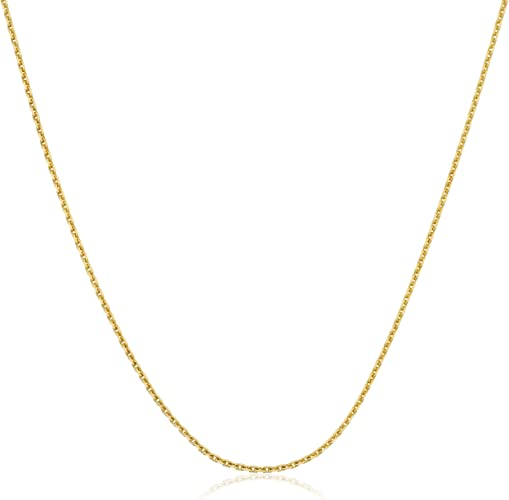 14 to 24 Inches 14k Yellow Gold 0.8 mm Diamond-Cut Cable Chain Necklace