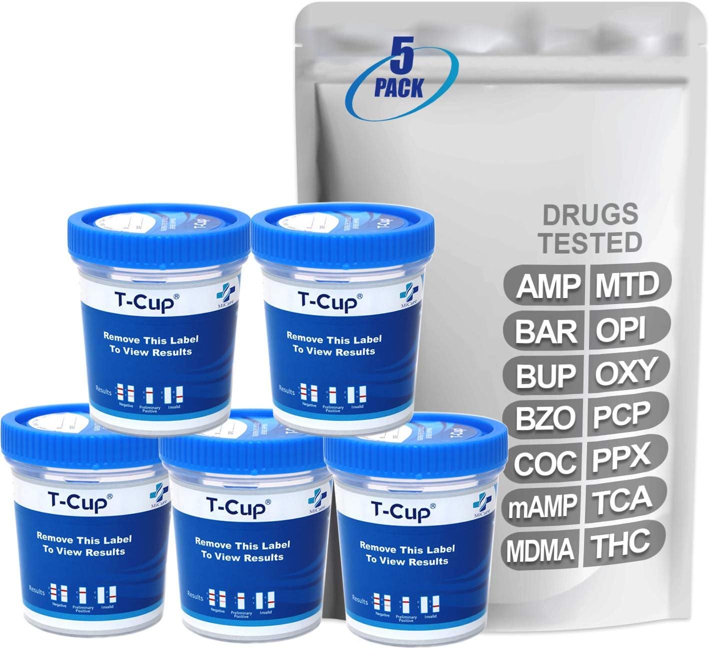 MiCare [5pk] - 14-Panel Home Multi Test Cup (AMP/BAR/BUP/BZO/COC/mAMP/MDMA/MTD/OPI/OXY/PCP/PPX/TCA/THC) #MI-TDOA-1144