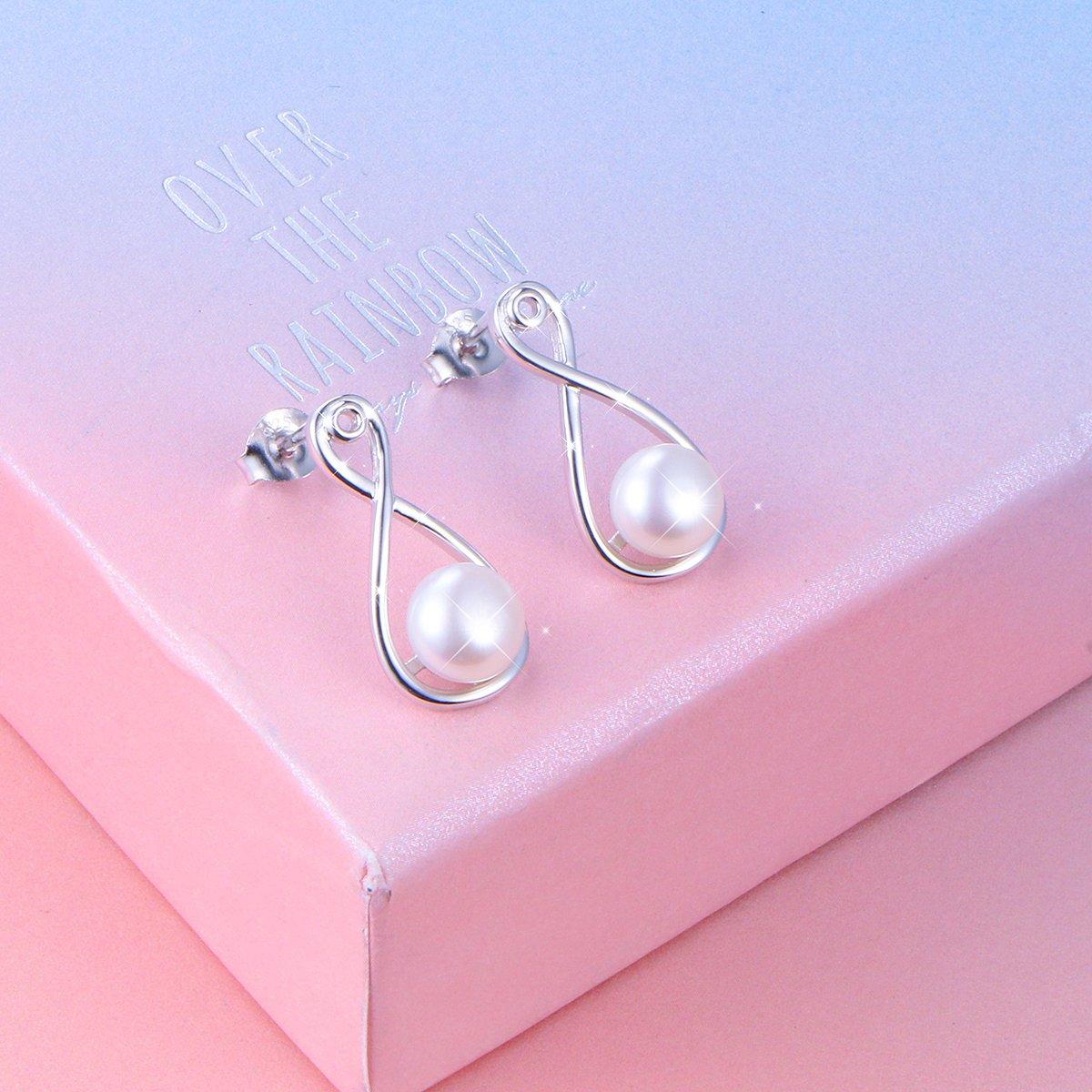 LINLIN FINE JEWELRY 925 Sterling SilverS925 Sterling Silver Stud Dangle Drop Cute Earrings for Women Girl (Infinity) by LINLIN FINE JEWELRY (Image #3)