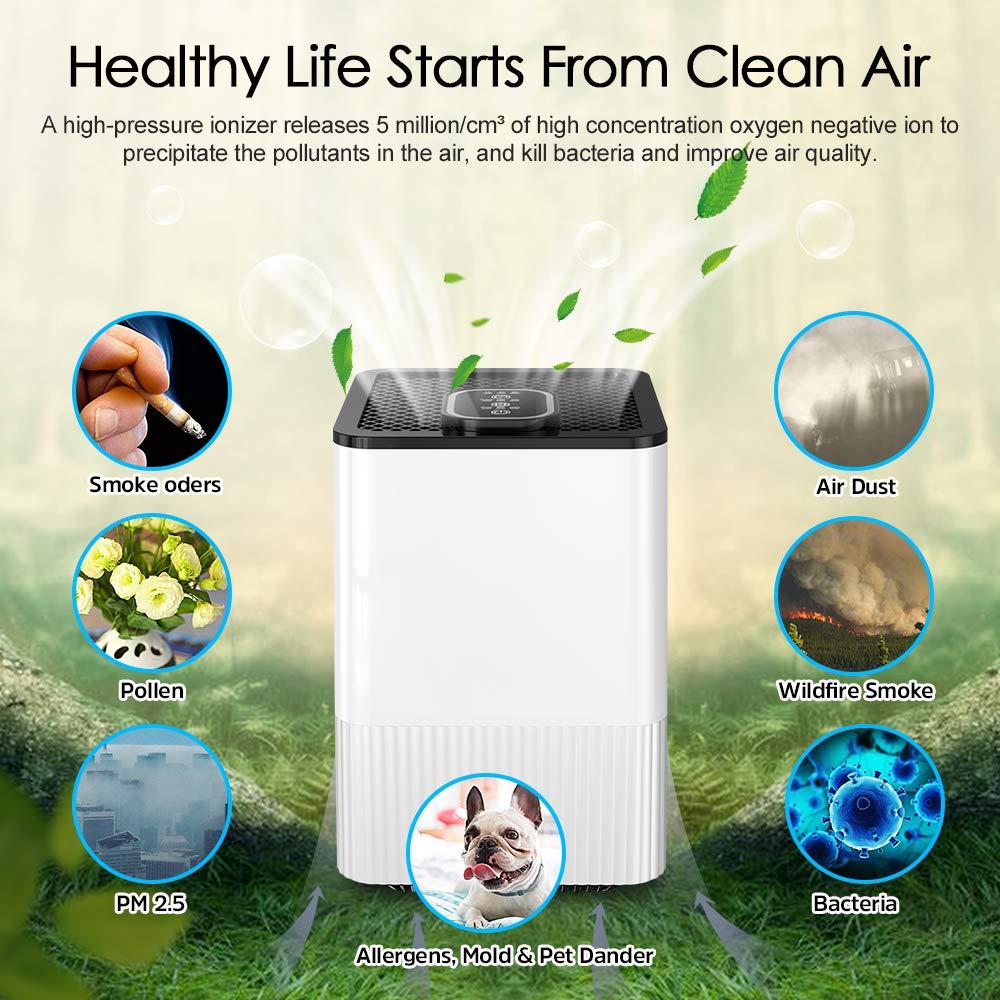 Purificador de Aire 4 en 1 con Filtro HEPA Verdadero, Limpiador de Aire Doméstico con Indicador y Temporizador de Calidad del Aire, Captura Alergias, Polvo, ...