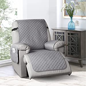 TAOCOCO Non-Slip Recliner Chair Cover Sofa Slipcover, Pet Cover for Small Recliner Chair with Elastic Straps, Washable Reclining Chair Cover Recliner Furniture Protector (23'' Small, Light Gray)
